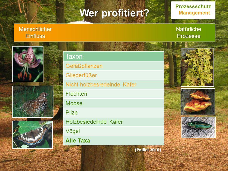 Taxon Gefäßpflanzen Gliederfüßer Nicht holzbesiedelnde Käfer Flechten Moose Pilze Holzbesiedelnde Käfer Vögel Alle Taxa Wer profitiert? Prozessschutz
