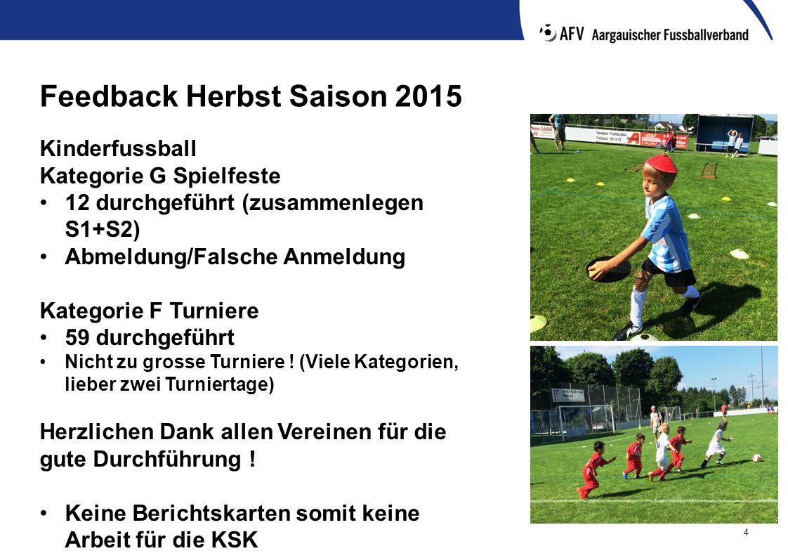 4 Feedback Herbst Saison 2015 Kinderfussball Kategorie G Spielfeste 12 durchgeführt (zusammenlegen S1+S2) Abmeldung/Falsche Anmeldung Kategorie F Turniere 59 durchgeführt Nicht zu grosse Turniere .