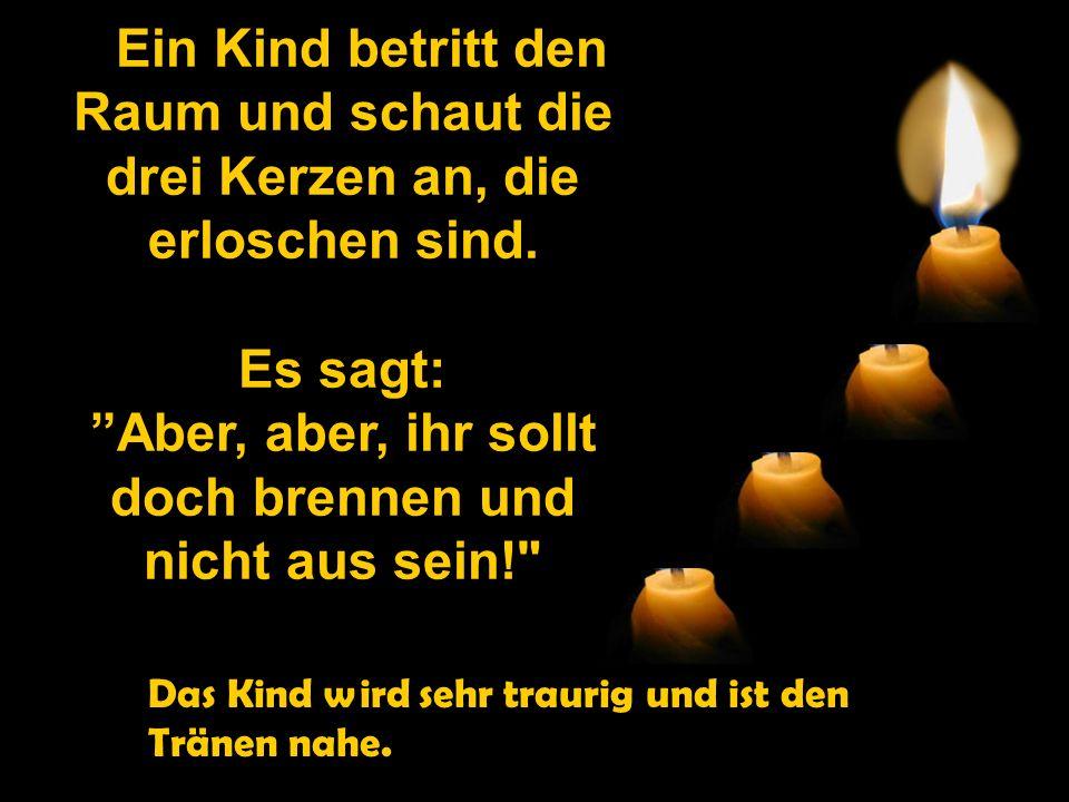 """Leise und traurig meldet sich nun die dritte Kerze auf ihre Weise: """" Ich bin die Liebe! Ich habe keine Kraft mehr zu brennen. Die Menschen schieben mi"""