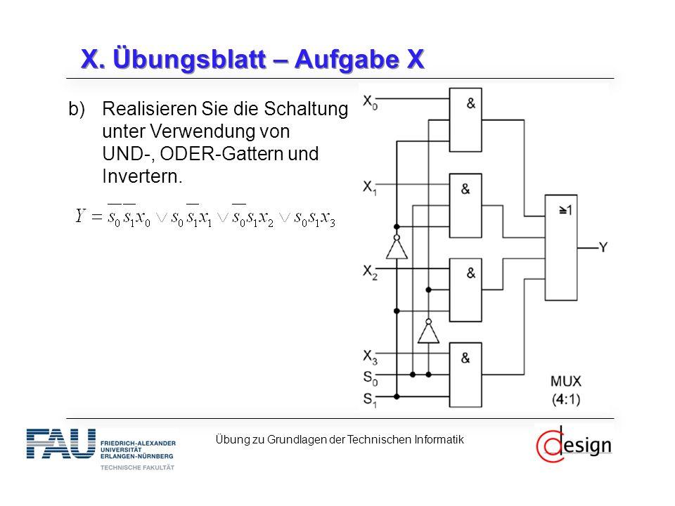 X. Übungsblatt – Aufgabe X b)Realisieren Sie die Schaltung unter Verwendung von UND-, ODER-Gattern und Invertern. Übung zu Grundlagen der Technischen