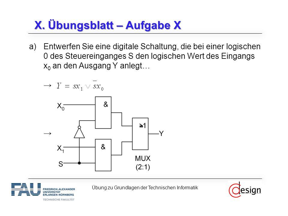 X. Übungsblatt – Aufgabe X a)Entwerfen Sie eine digitale Schaltung, die bei einer logischen 0 des Steuereinganges S den logischen Wert des Eingangs x