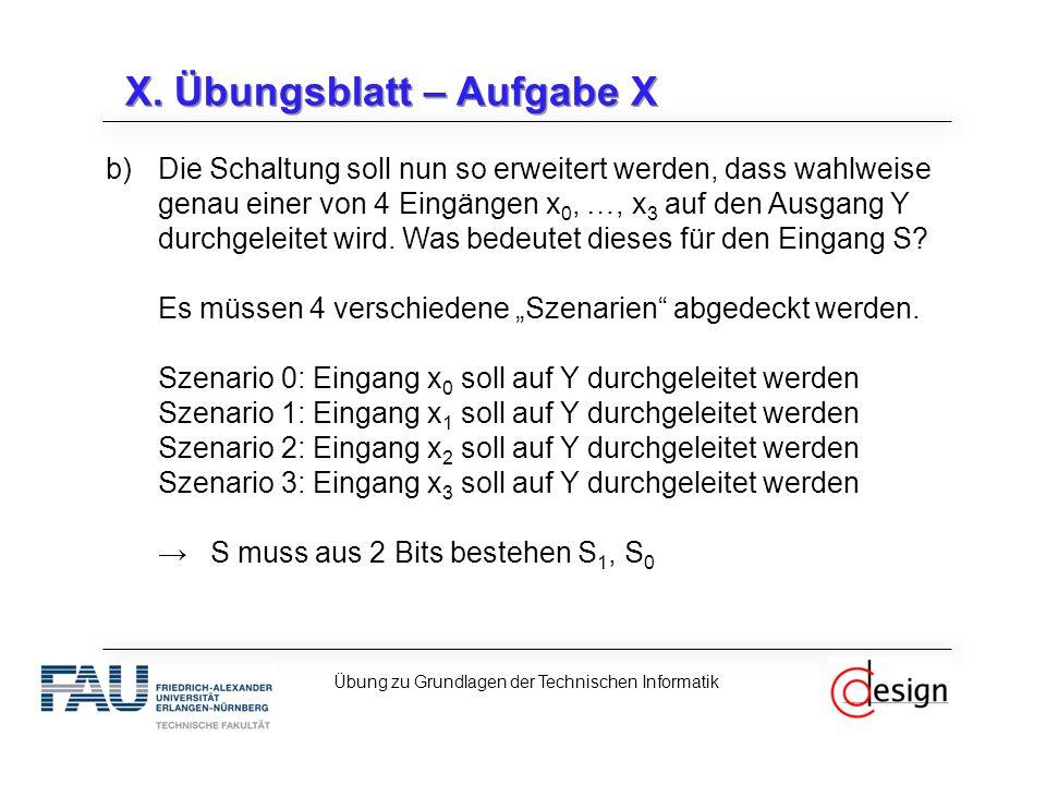 X. Übungsblatt – Aufgabe X b)Die Schaltung soll nun so erweitert werden, dass wahlweise genau einer von 4 Eingängen x 0, …, x 3 auf den Ausgang Y durc