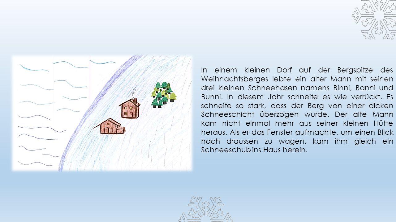 In einem kleinen Dorf auf der Bergspitze des Weihnachtsberges lebte ein alter Mann mit seinen drei kleinen Schneehasen namens Binni, Banni und Bunni.