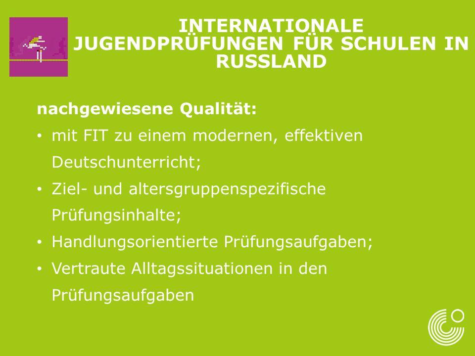 nachgewiesene Qualität: mit FIT zu einem modernen, effektiven Deutschunterricht; Ziel- und altersgruppenspezifische Prüfungsinhalte; Handlungsorientierte Prüfungsaufgaben; Vertraute Alltagssituationen in den Prüfungsaufgaben