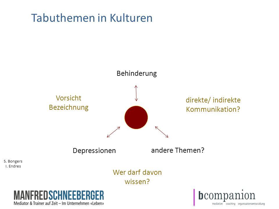 Tabuthemen in Kulturen I. Endres Behinderung Depressionen direkte/ indirekte Kommunikation? Vorsicht Bezeichnung Wer darf davon wissen? andere Themen?