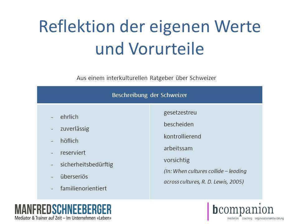 Reflektion der eigenen Werte und Vorurteile Aus einem interkulturellen Ratgeber über Schweizer Beschreibung der Schweizer -ehrlich -zuverlässig -höfli