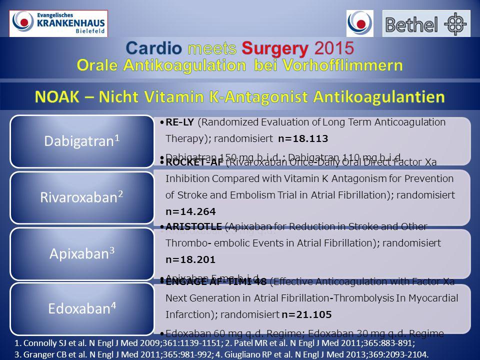 RE-LY (Randomized Evaluation of Long Term Anticoagulation Therapy); randomisiert n=18.113 Dabigatran 150 mg b.i.d.; Dabigatran 110 mg b.i.d.