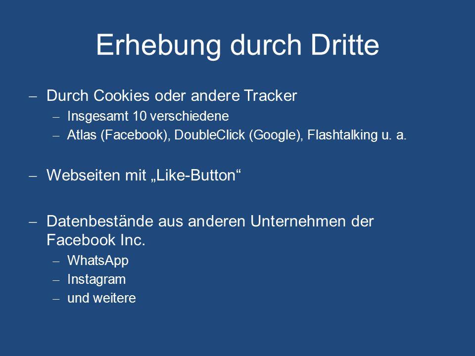 Verarbeitung, Übermittlung Verarbeitung  Profilbildung  Standortanalyse  Aufbereitung von personalisierter Werbung innerhalb Facebooks  Studien durch Facebook Research (z.