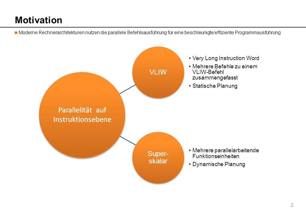 2 Motivation Moderne Rechnerarchitekturen nutzen die parallele Befehlsausführung für eine beschleunigte/effiziente Programmausführung VLIW Very Long I