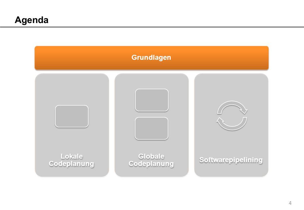 5 Phasenstruktur eines Compilers Die Optimierung für Befehlsparallelität erfolgt auf Basis eines Zwischencodes und für eine spezifische Architektur Frontend Lexikalische AnalyseSyntaktische AnalyseSemantische Analyse Zwischencode- Generierung Optimierung Optimierung für Parallelität auf Instruktionsebene u.a.