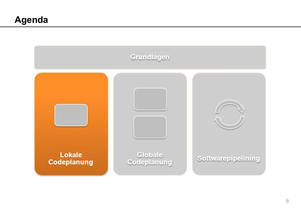 9 Agenda Grundlagen Lokale Codeplanung Globale Codeplanung Softwarepipelining