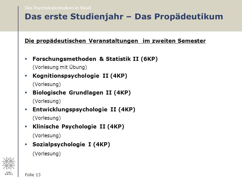 Das Psychologiestudium in Basel Folie 13 Das erste Studienjahr – Das Propädeutikum Die propädeutischen Veranstaltungen im zweiten Semester  Forschung