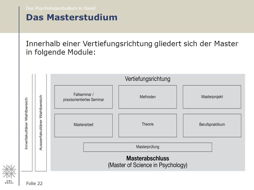 Das Psychologiestudium in Basel Folie 22 Das Masterstudium Innerhalb einer Vertiefungsrichtung gliedert sich der Master in folgende Module: