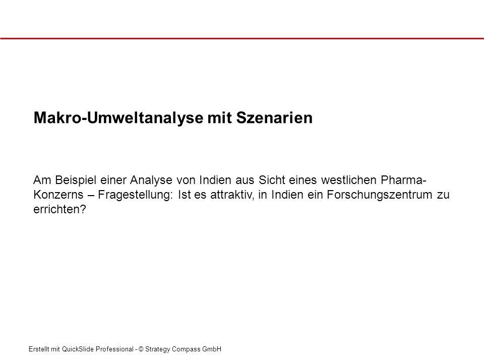 Erstellt mit QuickSlide Professional - © Strategy Compass GmbH Am Beispiel einer Analyse von Indien aus Sicht eines westlichen Pharma- Konzerns – Frag