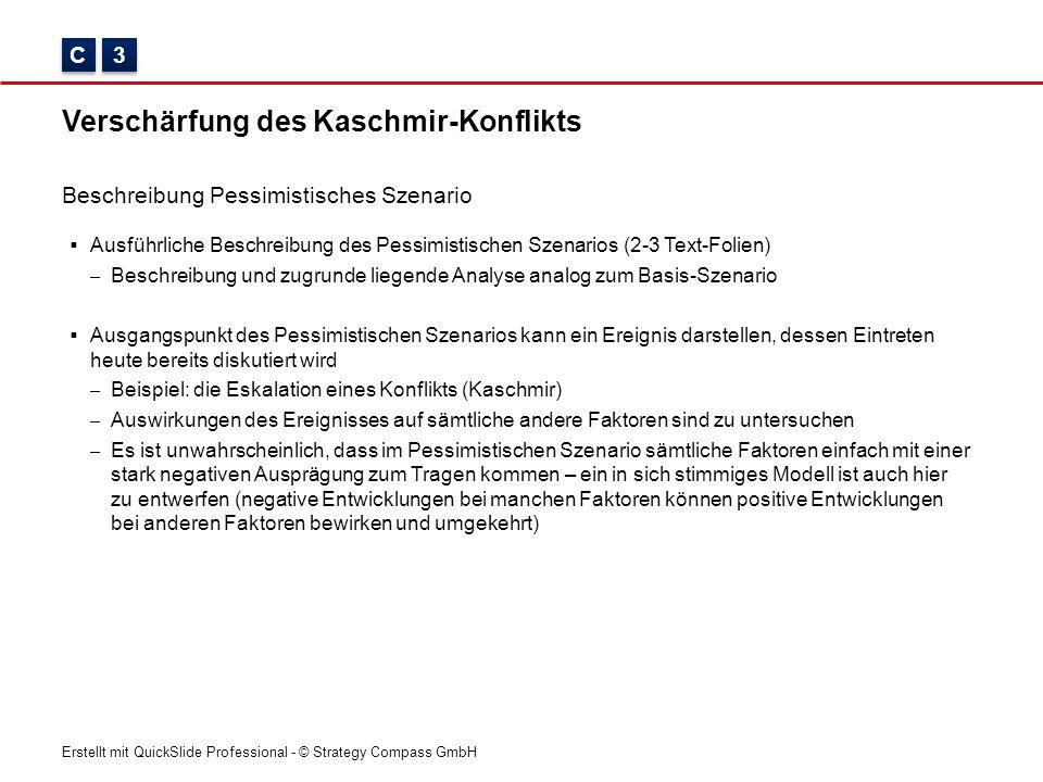 Erstellt mit QuickSlide Professional - © Strategy Compass GmbH Verschärfung des Kaschmir-Konflikts Beschreibung Pessimistisches Szenario C C 3 3  Aus