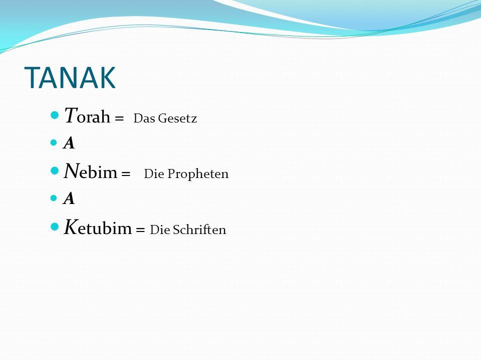 Übersicht über das AT TANAK Torah=Gesetz Nebiim=Propheten Ketuvim= Schriften Pentateuch