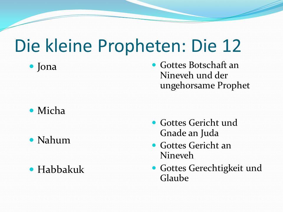 Kleine Propheten: Die12 Hosea Joel Amos Obadja Gottes Gnade an Israel als untreue Frau Gottes Gericht als Heuschreckenplage Gottes Gericht und Gesells