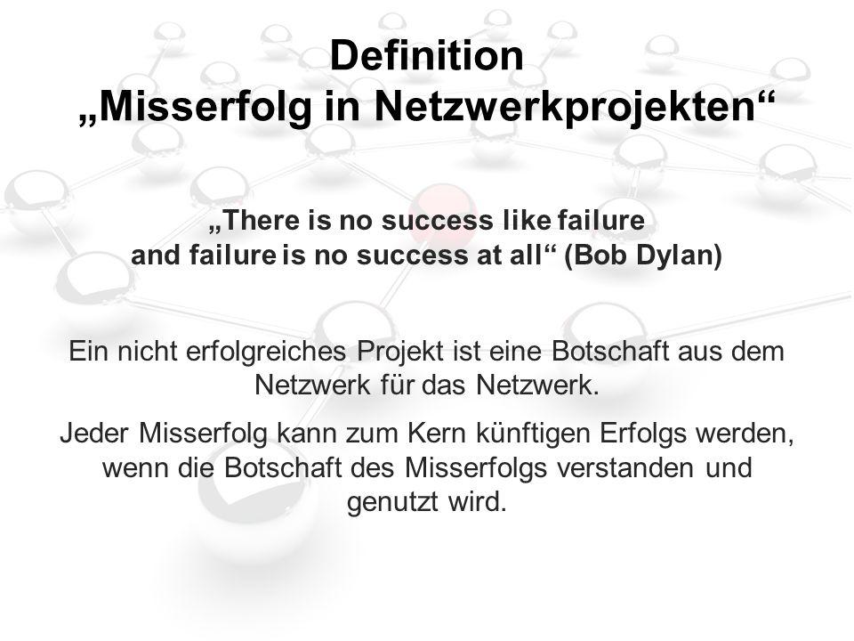 """Definition """"Misserfolg in Netzwerkprojekten """"There is no success like failure and failure is no success at all (Bob Dylan) Ein nicht erfolgreiches Projekt ist eine Botschaft aus dem Netzwerk für das Netzwerk."""
