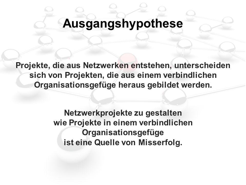Ausgangshypothese Projekte, die aus Netzwerken entstehen, unterscheiden sich von Projekten, die aus einem verbindlichen Organisationsgefüge heraus gebildet werden.