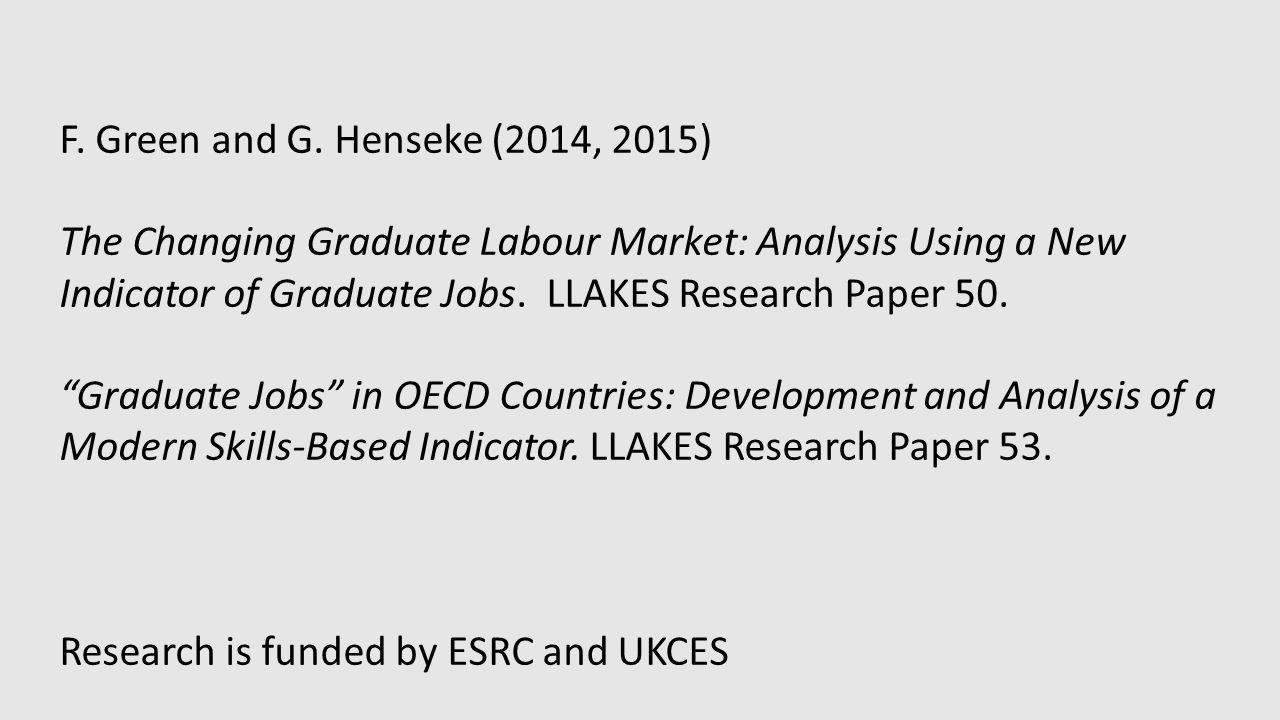 F. Green and G. Henseke (2014, 2015) The Changing Graduate Labour Market: Analysis Using a New Indicator of Graduate Jobs. LLAKES Research Paper 50. ""