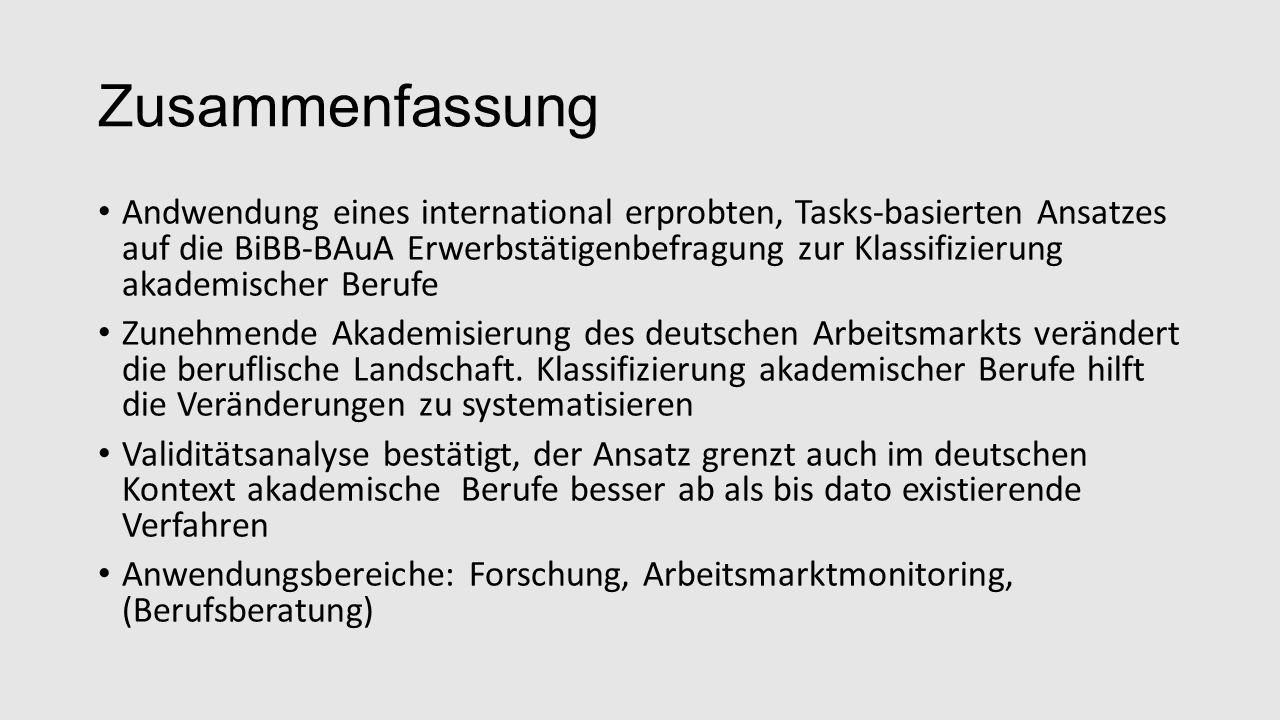 Zusammenfassung Andwendung eines international erprobten, Tasks-basierten Ansatzes auf die BiBB-BAuA Erwerbstätigenbefragung zur Klassifizierung akademischer Berufe Zunehmende Akademisierung des deutschen Arbeitsmarkts verändert die beruflische Landschaft.