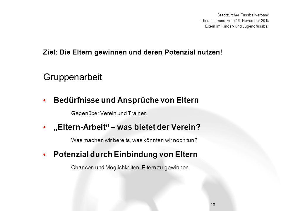 10 Bedürfnisse und Ansprüche von Eltern Gegenüber Verein und Trainer.