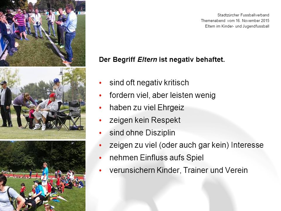 Stadtzürcher Fussballverband Themenabend vom 16.