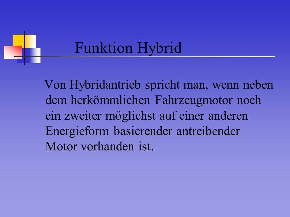 Funktion Hybrid Von Hybridantrieb spricht man, wenn neben dem herkömmlichen Fahrzeugmotor noch ein zweiter möglichst auf einer anderen Energieform bas