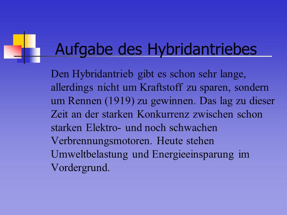 Aufgabe des Hybridantriebes Den Hybridantrieb gibt es schon sehr lange, allerdings nicht um Kraftstoff zu sparen, sondern um Rennen (1919) zu gewinnen