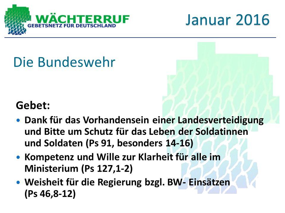 Die Bundeswehr Gebet: Dank für das Vorhandensein einer Landesverteidigung und Bitte um Schutz für das Leben der Soldatinnen und Soldaten (Ps 91, besonders 14-16) Kompetenz und Wille zur Klarheit für alle im Ministerium (Ps 127,1-2) Weisheit für die Regierung bzgl.