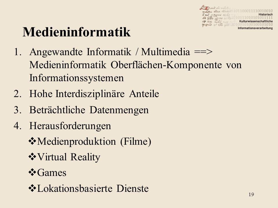 1.Angewandte Informatik / Multimedia ==> Medieninformatik Oberflächen-Komponente von Informationssystemen 2.Hohe Interdisziplinäre Anteile 3.Beträchtliche Datenmengen 4.Herausforderungen  Medienproduktion (Filme)  Virtual Reality  Games  Lokationsbasierte Dienste 19 Medieninformatik