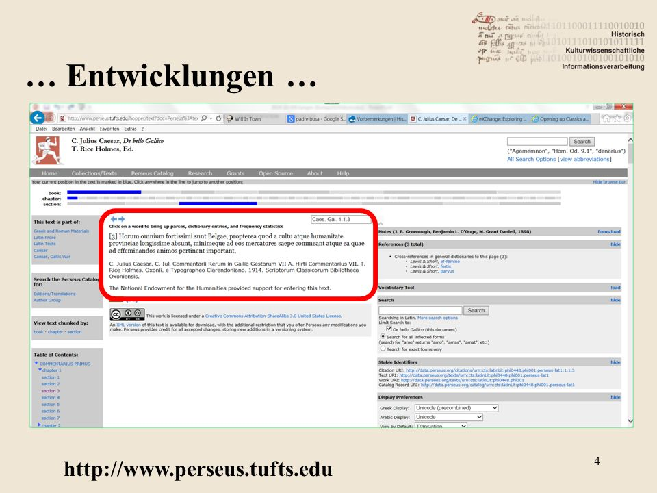 http://www.perseus.tufts.edu 4 … Entwicklungen …
