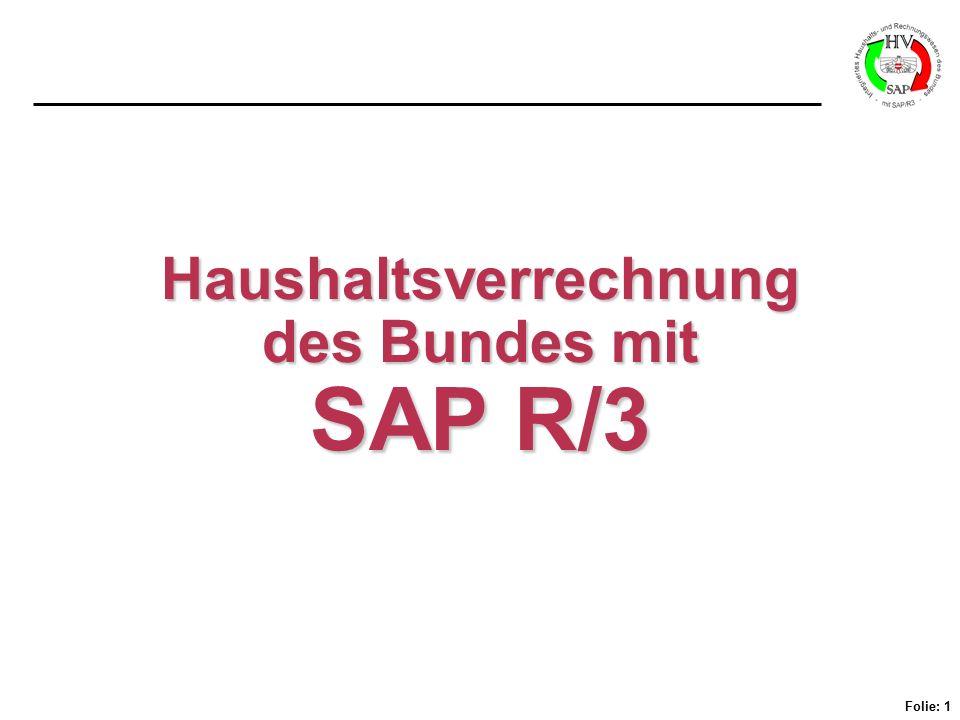 Folie: 1 Haushaltsverrechnung des Bundes mit SAP R/3