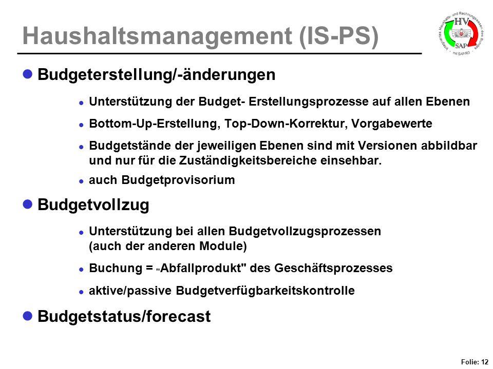 Folie: 12 Haushaltsmanagement (IS-PS) Budgeterstellung/-änderungen Unterstützung der Budget- Erstellungsprozesse auf allen Ebenen Bottom-Up-Erstellung