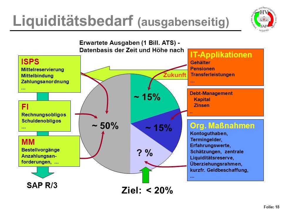 Folie: 18 Liquiditätsbedarf (ausgabenseitig) Zukunft ~ 15% IT-Applikationen Gehälter Pensionen Transferleistungen... Debt-Management Kapital Zinsen..