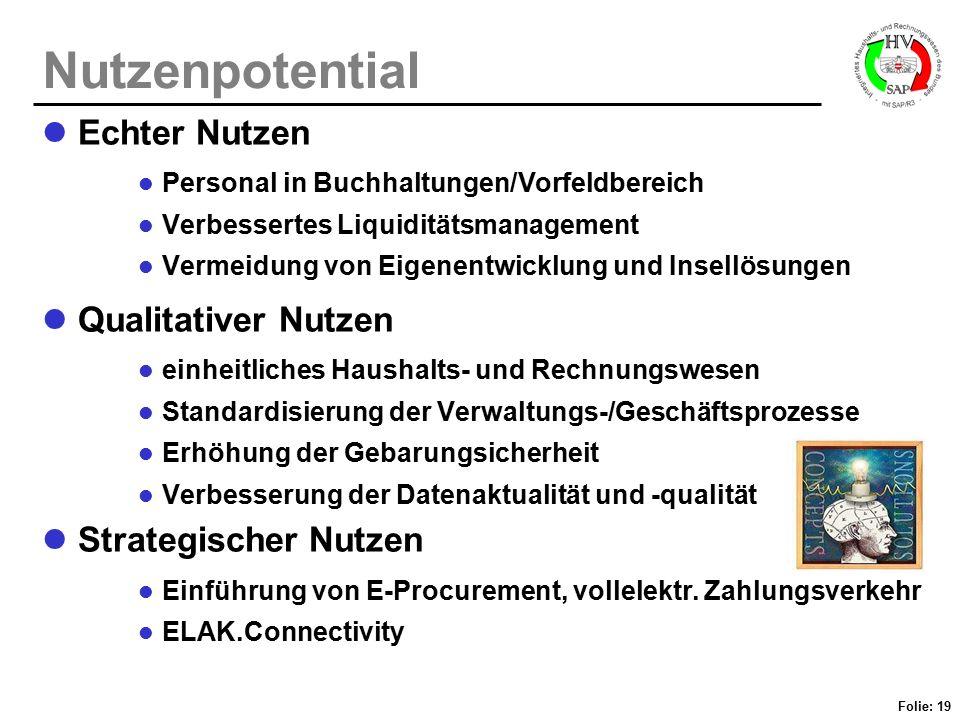 Folie: 19 Nutzenpotential Echter Nutzen Personal in Buchhaltungen/Vorfeldbereich Verbessertes Liquiditätsmanagement Vermeidung von Eigenentwicklung un