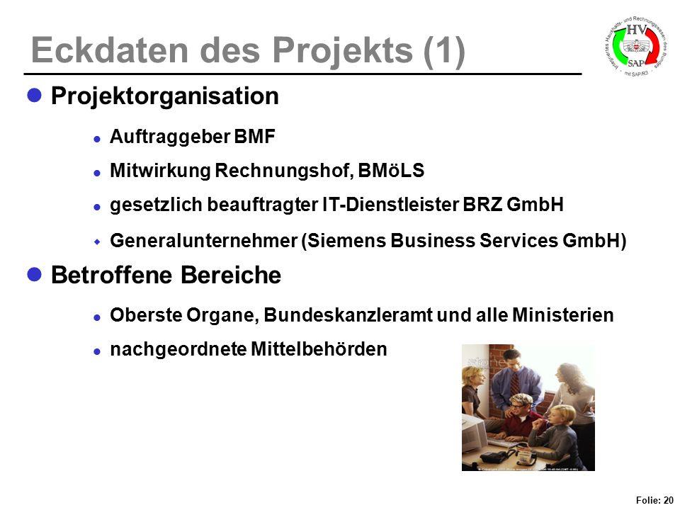 Folie: 20 Eckdaten des Projekts (1) Projektorganisation Auftraggeber BMF Mitwirkung Rechnungshof, BMöLS gesetzlich beauftragter IT-Dienstleister BRZ G