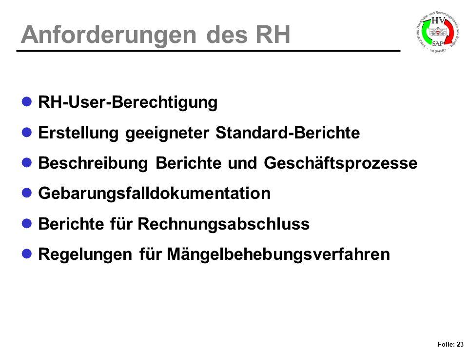 Folie: 23 Anforderungen des RH RH-User-Berechtigung Erstellung geeigneter Standard-Berichte Beschreibung Berichte und Geschäftsprozesse Gebarungsfalld