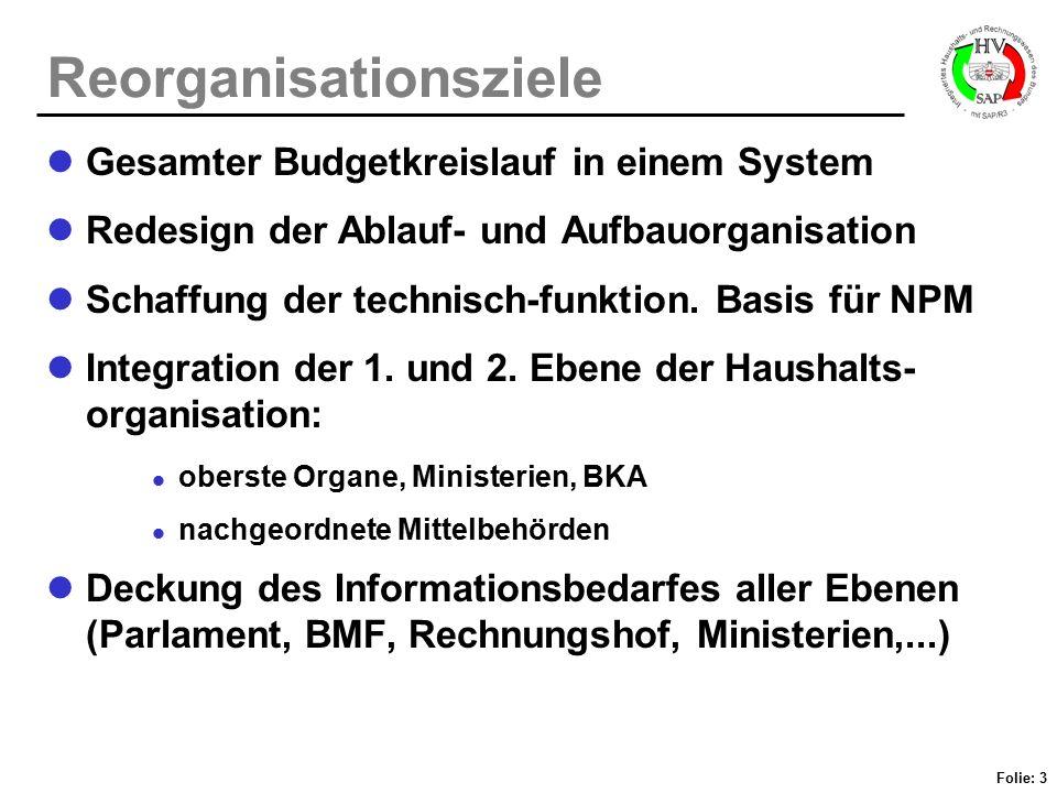 Folie: 3 Reorganisationsziele Gesamter Budgetkreislauf in einem System Redesign der Ablauf- und Aufbauorganisation Schaffung der technisch-funktion. B