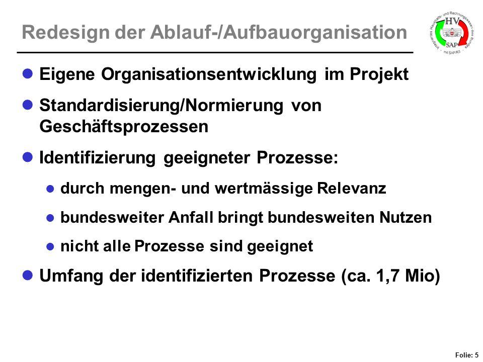 Folie: 5 Redesign der Ablauf-/Aufbauorganisation Eigene Organisationsentwicklung im Projekt Standardisierung/Normierung von Geschäftsprozessen Identif