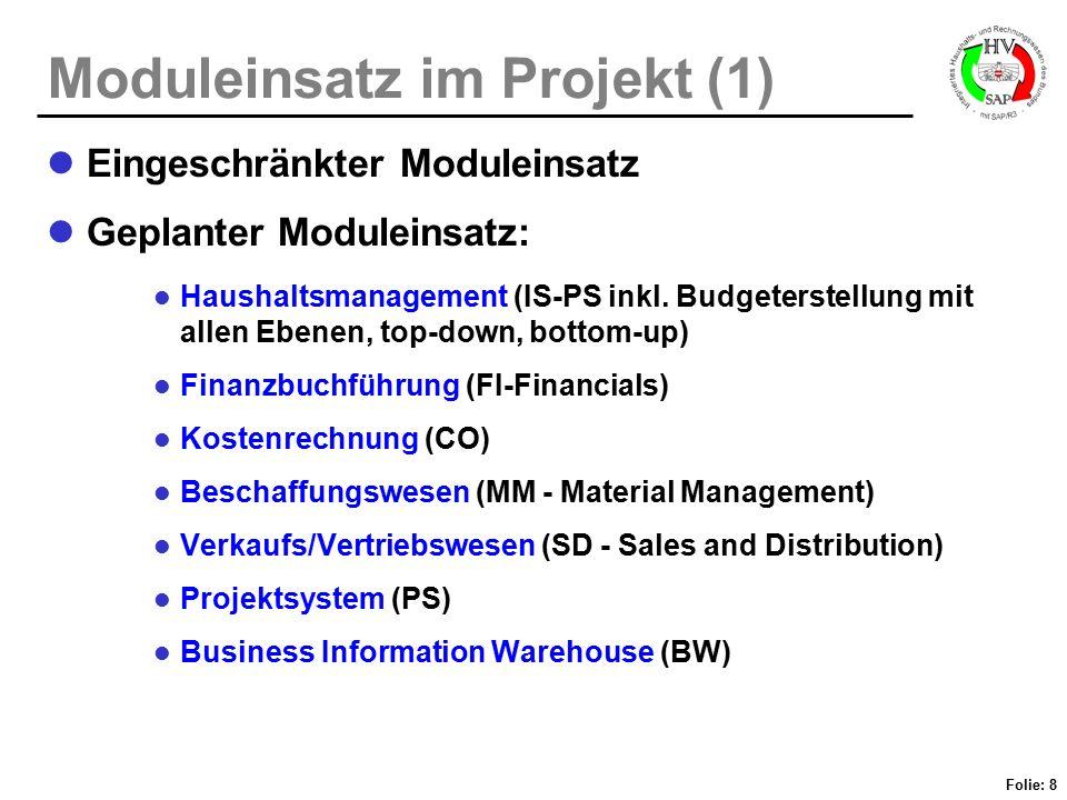 Folie: 9 Moduleinsatz im Projekt (2) Ausweitung des SAP R/3-Einsatzes in späterer Phase volle Funktionalitäts-Nutzung (Stichwort Ausreizung ) restlicher Modul-Einsatz: Anlagenbuchführung (FI/AA - Asset Accounting) Instandhaltungsmanagement (PM - Plant-Maintenance)...
