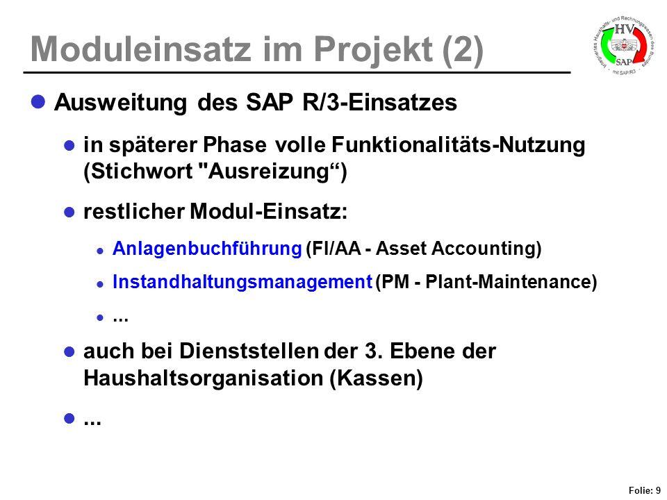 Folie: 9 Moduleinsatz im Projekt (2) Ausweitung des SAP R/3-Einsatzes in späterer Phase volle Funktionalitäts-Nutzung (Stichwort