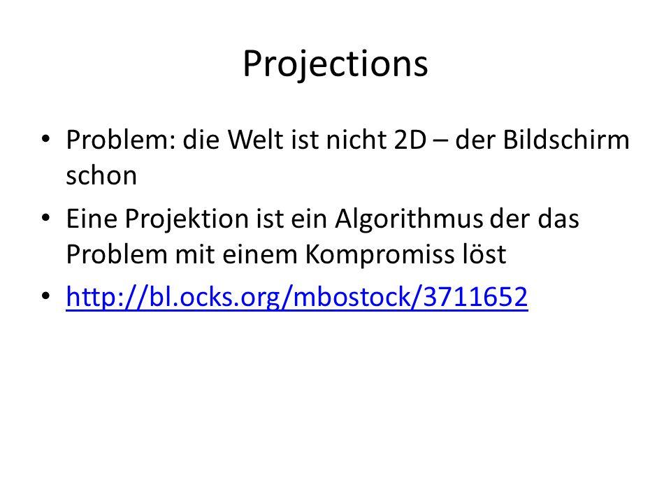 Projections Problem: die Welt ist nicht 2D – der Bildschirm schon Eine Projektion ist ein Algorithmus der das Problem mit einem Kompromiss löst http://bl.ocks.org/mbostock/3711652