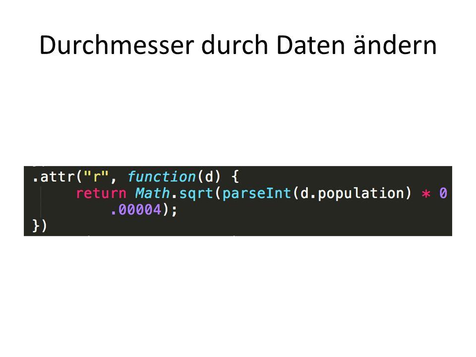 Durchmesser durch Daten ändern