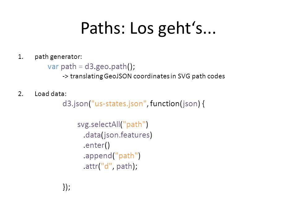Links Lon/Lat: http://teczno.com/squareshttp://teczno.com/squares Paths: https://github.com/mbostock/d3/wiki/Geo- Paths https://github.com/mbostock/d3/wiki/Geo- Paths Projections: https://github.com/mbostock/d3/wiki/Geo- Projections https://github.com/mbostock/d3/wiki/Geo- Projections