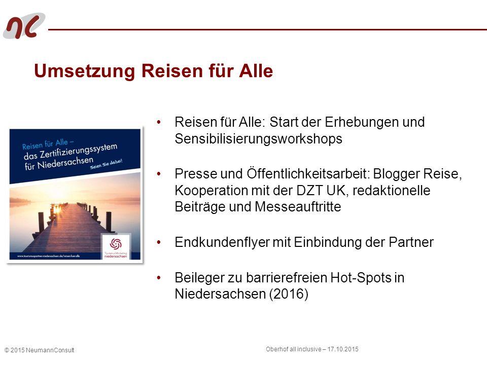 © 2015 NeumannConsult Oberhof all inclusive – 17.10.2015 Umsetzung Reisen für Alle Reisen für Alle: Start der Erhebungen und Sensibilisierungsworkshop