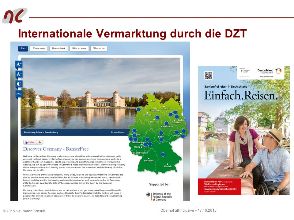 © 2015 NeumannConsult Oberhof all inclusive – Internationale Vermarktung durch die DZT