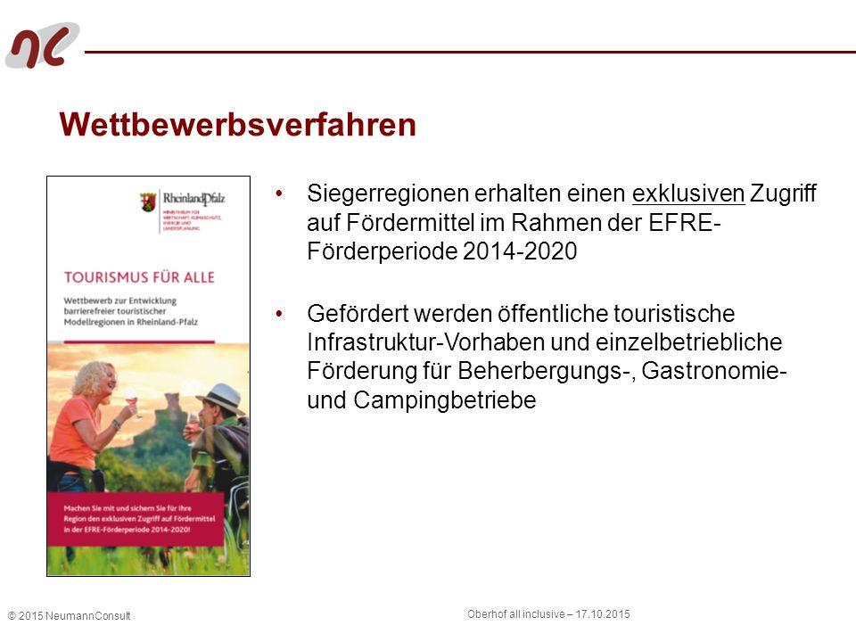 © 2015 NeumannConsult Oberhof all inclusive – 17.10.2015 Wettbewerbsverfahren Siegerregionen erhalten einen exklusiven Zugriff auf Fördermittel im Rah