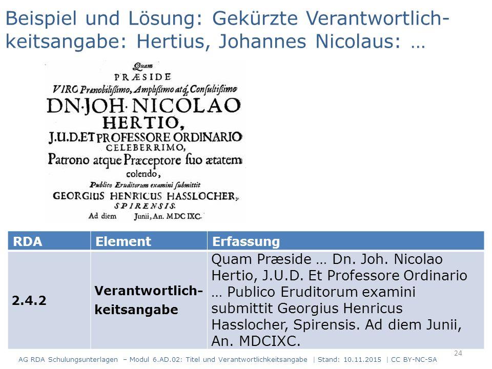 RDAElementErfassung 2.4.2 Verantwortlich- keitsangabe Quam Præside … Dn. Joh. Nicolao Hertio, J.U.D. Et Professore Ordinario … Publico Eruditorum exam