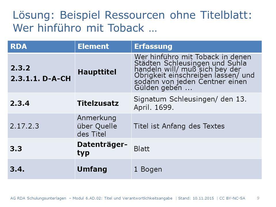 Lösung: Beispiel Ressourcen ohne Titelblatt: Wer hinführo mit Toback … RDAElementErfassung 2.3.2 2.3.1.1. D-A-CH Haupttitel Wer hinführo mit Toback in